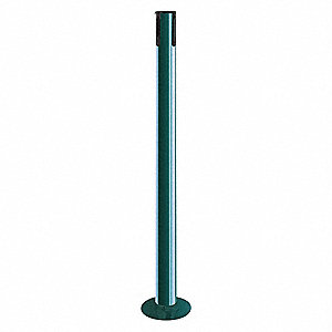 "Single Belt Receiver Post, Mild Steel Post Material, Fixed Flanged Base Type, 36-1/2"" Height"
