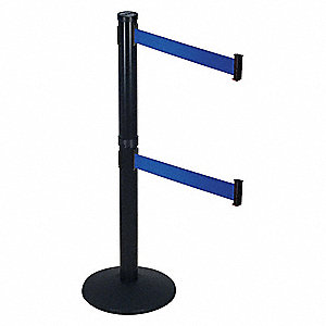 Barrier Post with Belt,40 In. H,Sloped