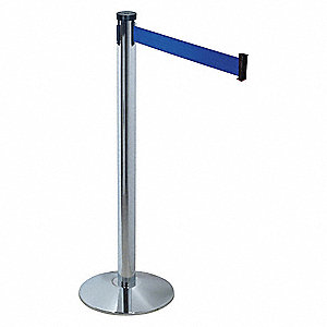 Barrier Post with Belt,10 ft. L,Blue