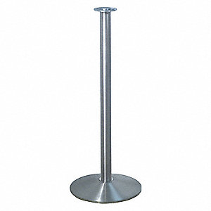 "Flat Top Rope Post, Satin Stainless Steel, Satin Stainless Steel Post Finish, 34"" Height"