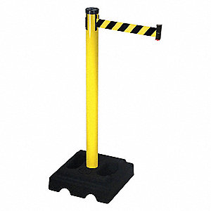 Barrier Post with Belt,40 In. H,10 ft. L