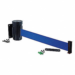 Wall Mounted Retractable Belt Barrier, Blue