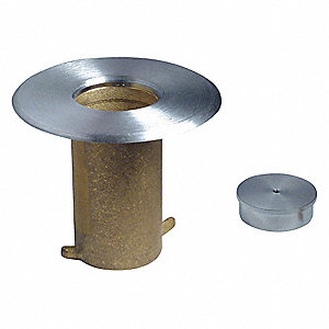 Brass Floor Socket with Cap, Satin Chrome