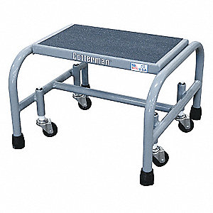 "1-Step Rolling Ladder, Abrasive Mat Step Tread, 12"" Overall Height, 450 lb. Load Capacity"
