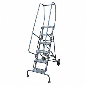 Awe Inspiring 6 Step Rolling Ladder Serrated Step Tread 90 Overall Height 450 Lb Load Capacity Spiritservingveterans Wood Chair Design Ideas Spiritservingveteransorg