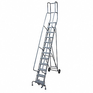 "13-Step Rolling Ladder, Perforated Step Tread, 172"" Overall Height, 450 lb. Load Capacity"