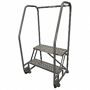 "2-Step Tilt and Roll Ladder, Perforated Step Tread, 50"" Overall Height, 450 lb. Load Capacity"