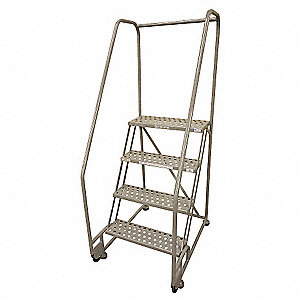 "4-Step Tilt and Roll Ladder, Perforated Step Tread, 70"" Overall Height, 450 lb. Load Capacity"