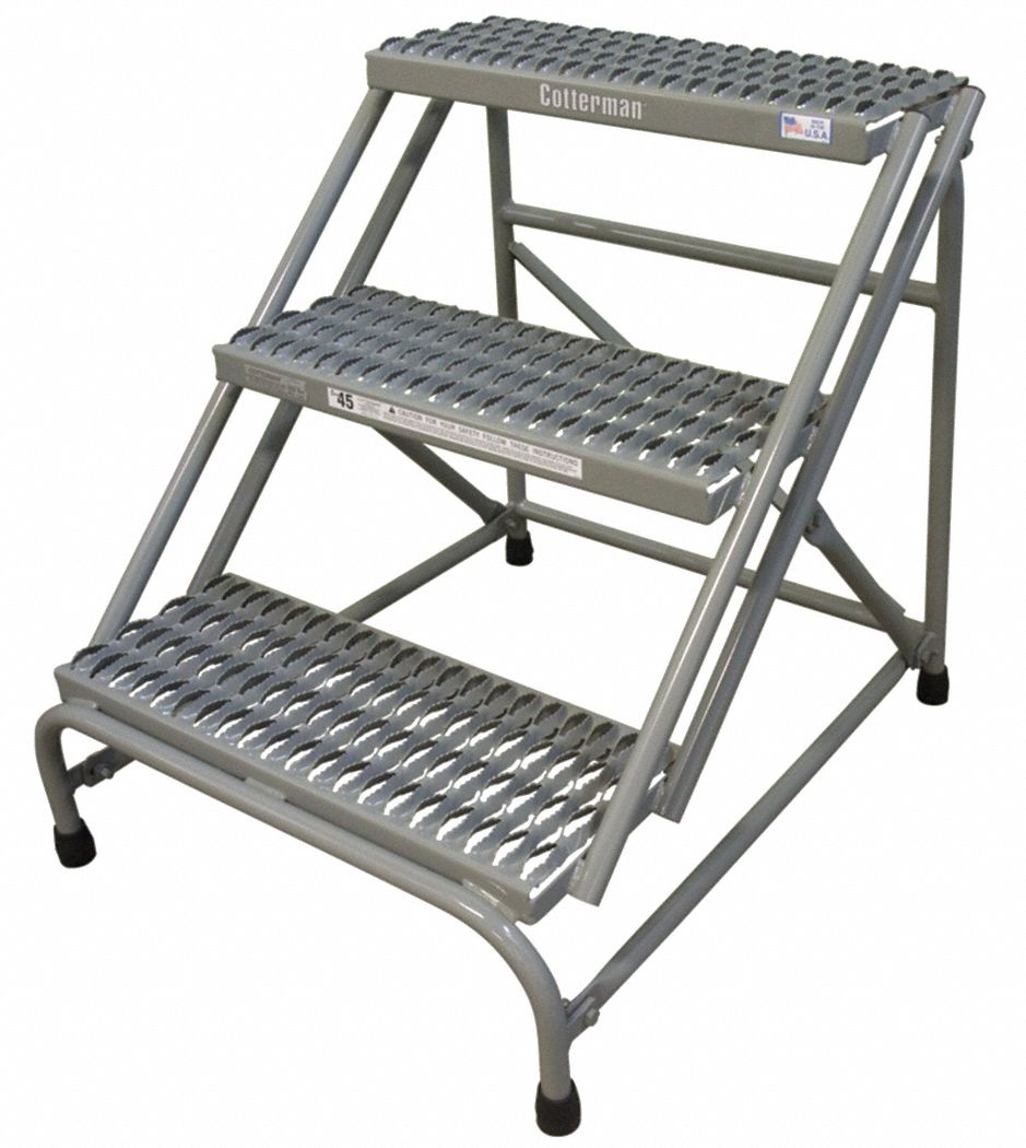 Steel Stationary Step, 30 in Overall Height, 500 lb Load Capacity, Number of Steps: 3
