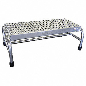"Aluminum Step Stand, 10"" Overall Height, 500 lb. Load Capacity, Number of Steps 1"