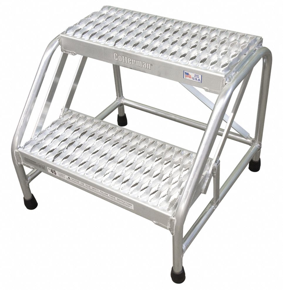 Aluminum Stationary Step, 20 in Overall Height, 500 lb Load Capacity, Number of Steps: 2