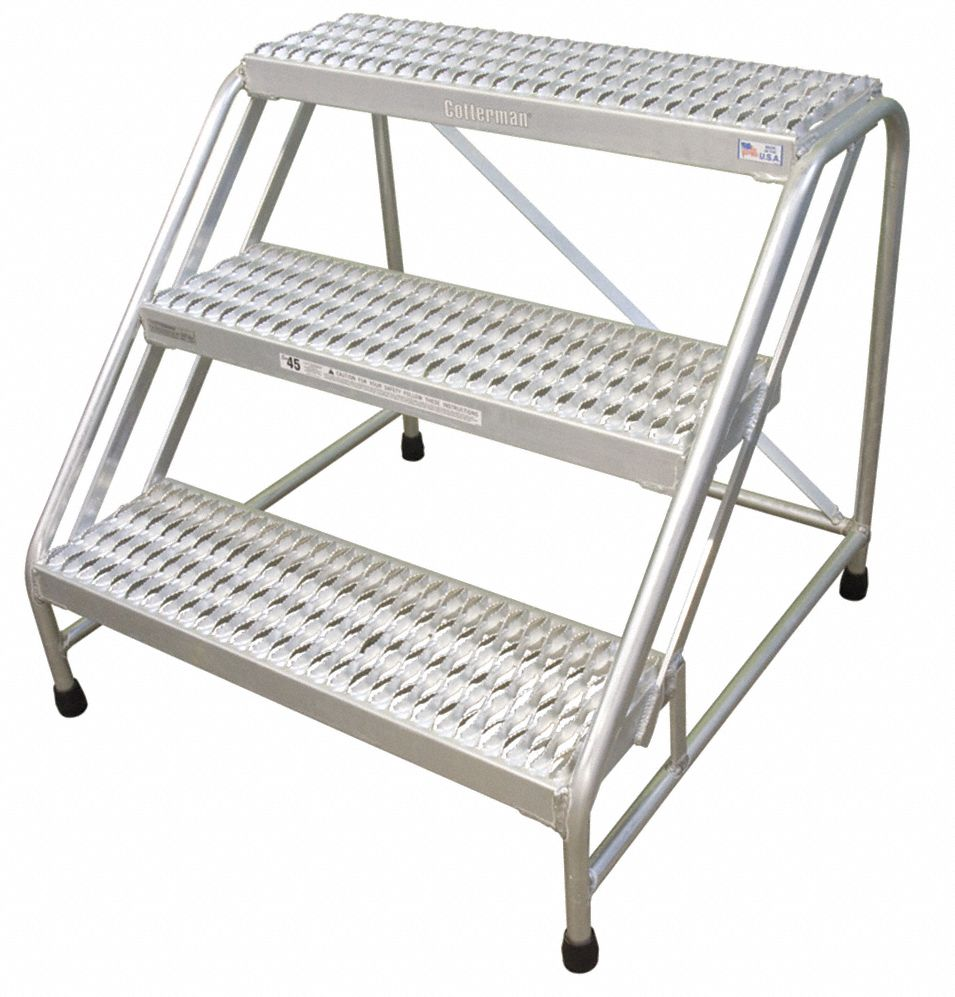 Aluminum Stationary Step, 30 in Overall Height, 500 lb Load Capacity, Number of Steps: 3