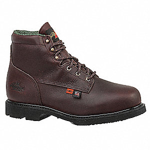 "6""H Men's Work Boots, Steel Toe Type, Leather Upper Material, Brown, Size 15D"