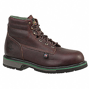 "6""H Unisex Work Boots, Steel Toe Type, Leather Upper Material, Brown, Size 8-1/2E"