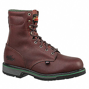 "8""H Men's Work Boots, Steel Toe Type, Leather Upper Material, Brown, Size 8D"