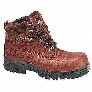 "6""H Men's Hiking Boots, Composite Toe Type, Leather Upper Material, Brown, Size 10-1/2W"