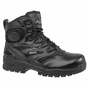 "6""H Unisex Work Boots, Composite Toe Type, Leather/Nylon Upper Material, Black, Size 11XW"