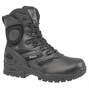 "8""H Men's Work Boots, Composite Toe Type, Leather/Nylon Upper Material, Black, Size 6-1/2M"