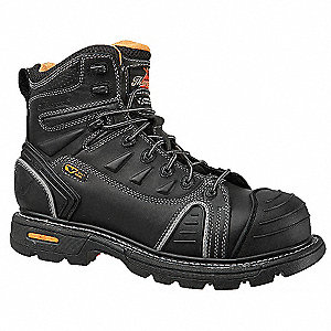"6""H Men's Work Boots, Composite Toe Type, Leather Upper Material, Black, Size 9W"