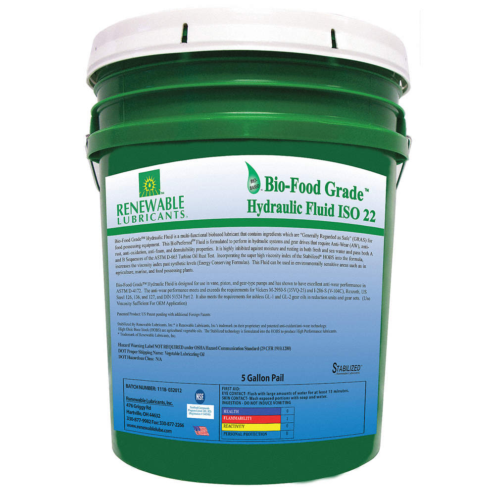 Vegetable Oil Hydraulic Oil, 5 gal  Pail, ISO Viscosity Grade : 22