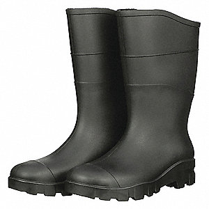 "13""H Men's Boots, Steel Toe Type, PVC Upper Material, Black, Size 8"