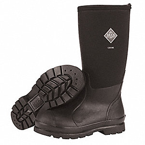 "16""H Men's Knee Boots, Plain Toe Type, Natural Rubber Upper Material, Black, Size 10"
