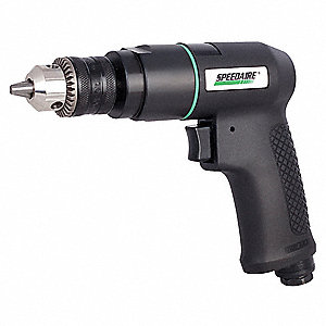"0.5 HP General Duty Keyed Air Drill, Pistol Style, 3/8"" Chuck Size"