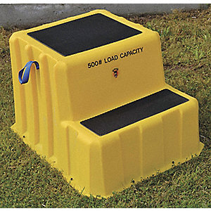 "Polyethylene Step Stand, 20"" Overall Height, 500 lb. Load Capacity, Number of Steps 2"