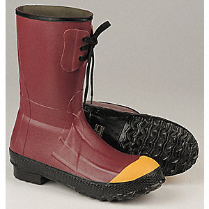 "12""H Men's Insulated Boots, Steel Toe Type, Rubber Upper Material, Red, Size 14"