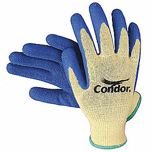 Natural Rubber Latex Cut Resistant Gloves, ANSI/ISEA Cut Level 4, Kevlar® Lining, Blue, Yellow, L, P