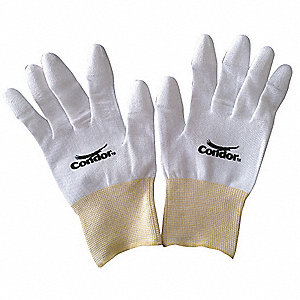 13 Gauge Foamed Polyurethane Coated Gloves, Size L, White