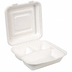 "9"" x 9"" Molded Fiber Container, White&#x3b; PK250"