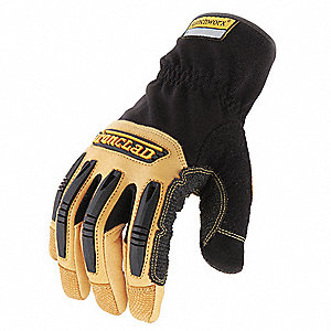 Leather Mechanics Gloves, Goatskin Leather Palm Material, Black/Tan, L, PR 1