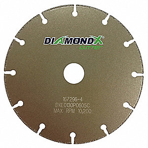 "4"" Type 1 Diamond Abrasive Cut-Off Wheel, 5/8"" Arbor, 0.050""-Thick, 19,000 Max. RPM"
