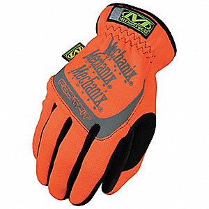 General Utility High Visibility Mechanics Gloves, Synthetic Leather Palm Material, High Visibility O