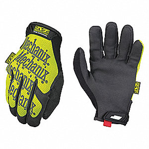 Mechanics Gloves,Full,Hi-Vis Yellow,L,PR