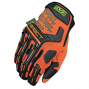 Impact Gloves, Synthetic Leather, PORON® XRD(TM) Palm Material, High Visibility Orange, L, PR 1