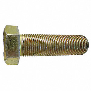 "1/2""-13, Steel Hex Tap Bolt, Grade 8, 4-1/2""L, Zinc Yellow Finish, 10 PK"
