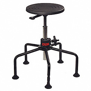 "Round Stool with 17"" to 35"" Seat Height Range and 250 lb. Weight Capacity, Black"