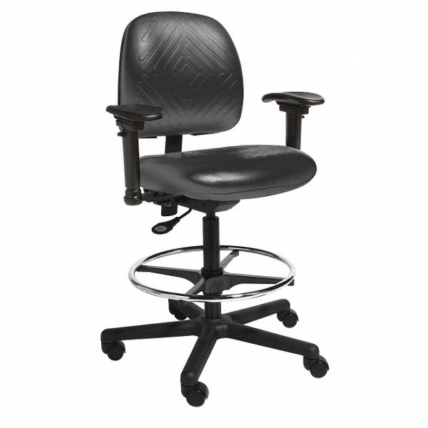 Cramer black urethane task chair 15 back height arm for Cramer furniture
