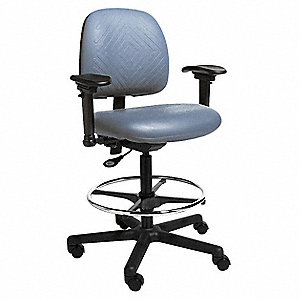 "Task Chair,Poly,Blue,23"" to 33"" Seat Ht"