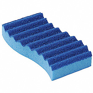 "Blue, Polyester Scrubber Sponge, Length 5-5/8"", Width 3-3/8 to 2-7/8"", 5 PK"