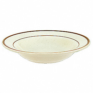 Rimmed Soup Bowl,Brown,12 oz.,PK24