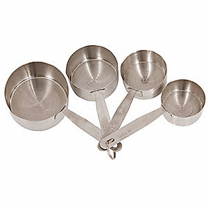 1/4, 1/3, 1/2, 1 Cup Stainless Steel Measuring Cup Set, Gray
