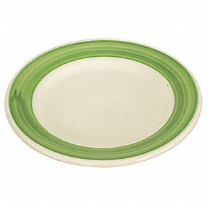 Plate,9 In.,White/Green,PK24