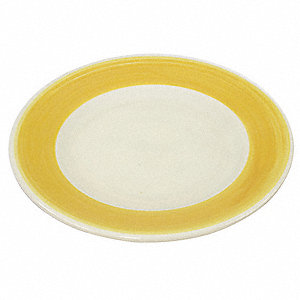 Plate,9 In.,White/Yellow,PK24