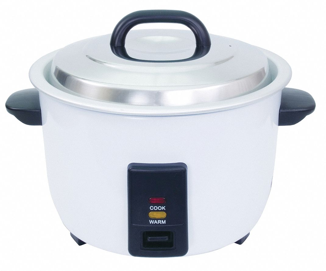 7-1/2 qt Powder Coated Steel 30 Cup Electric Rice Cooker, White/Black
