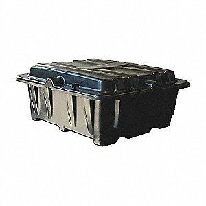 BATTERY BOX 8D DUAL SIDE-SIDE BLACK