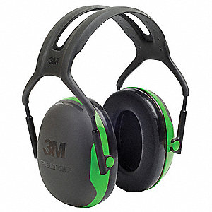 22dB Over-the-Head Ear Muffs, Black, Green
