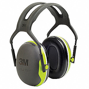 27dB Over-the-Head Ear Muff, Black/Chartreuse&#x3b; NRRb 27 dB. CSA Class AL.